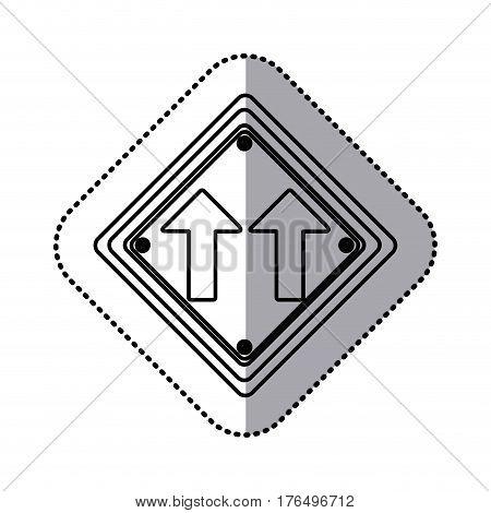 sticker silhouette diamond shape frame same direction arrow road traffic sign vector illustration