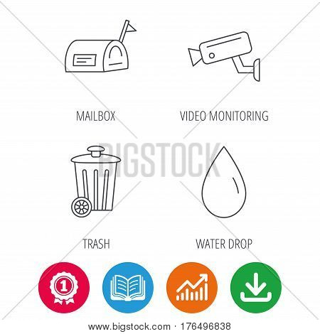 Mailbox, video monitoring and water drop icons. Trash bin linear sign. Award medal, growth chart and opened book web icons. Download arrow. Vector