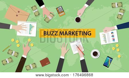 illustration of buzz marketing discussion in a meeting with paperworks, folder document and money on top of table and world map as background vector