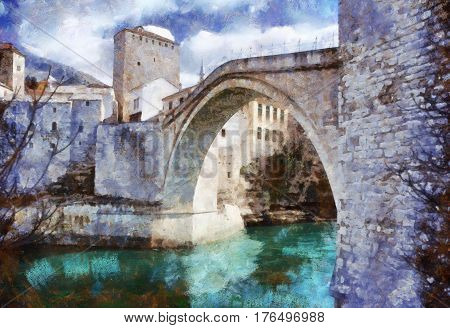 Digital Painting oil on canvas of Stari Most (Old Bridge) almost 500 years old monument in the city of Mostar in Bosnia and Herzegovina and it's protected by Unesco. It crosses Neretva river.