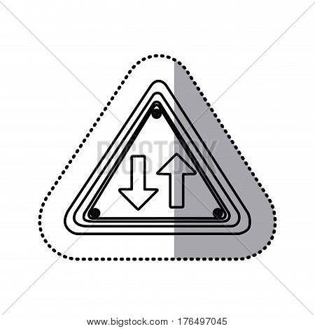 sticker silhouette triangle shape frame two way traffic sign vector illustration