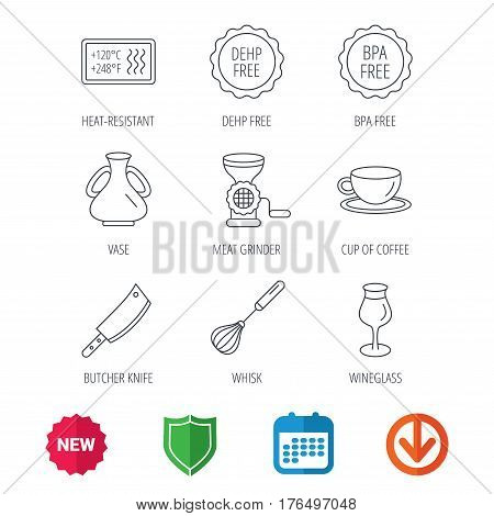Coffee cup, butcher knife and wineglass icons. Meat grinder, whisk and vase linear signs. Heat-resistant, DEHP and BPA free icons. New tag, shield and calendar web icons. Download arrow. Vector