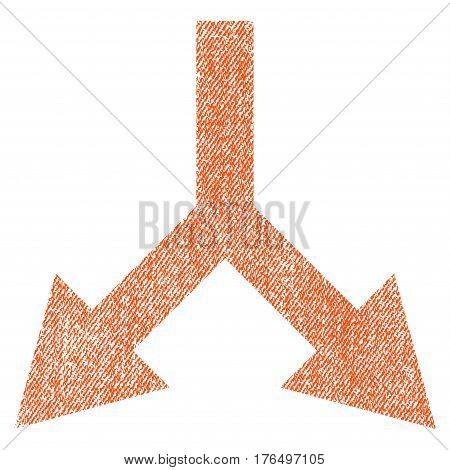 Bifurcation Arrow Down vector textured icon for overlay watermark stamps. Fabric orange vectorized texture. Symbol with scratched design. Rubber seal stamp with fiber textile structure.