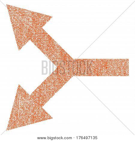 Bifurcation Arrow Left vector textured icon for overlay watermark stamps. Fabric orange vectorized texture. Symbol with scratched design. Rubber seal stamp with fiber textile structure.