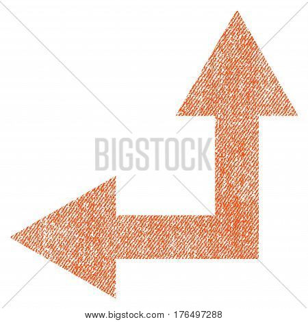 Bifurcation Arrow Left Up vector textured icon for overlay watermark stamps. Fabric orange vectorized texture. Symbol with unclean design. Rubber seal stamp with fiber textile structure.
