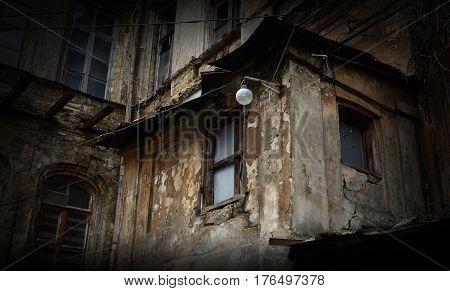 Abandoned creepy house, dangerous structure, Odessa, Ukraine
