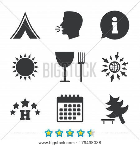 Food, hotel, camping tent and tree icons. Wineglass and fork. Break down tree. Road signs. Information, go to web and calendar icons. Sun and loud speak symbol. Vector