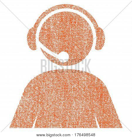 Call Center Operator vector textured icon for overlay watermark stamps. Fabric orange vectorized texture. Symbol with dust design. Rubber seal stamp with fiber textile structure.