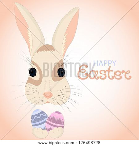 Easter bunny keeps paschal eggs in rabbits paws. Greeting card for the Resurrection of Christ.