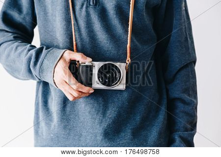 Photographer Man With Leather Camera Strap And Mirrorless Camera