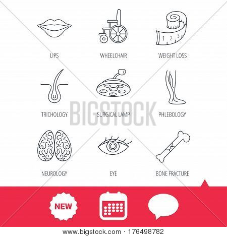 Eye, neurology brain and vein varicose icons. Wheelchair, bone fracture and trichology linear signs. Weight loss, lips and surgical lamp icons. New tag, speech bubble and calendar web icons. Vector