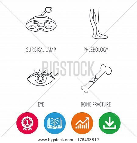 Eye, bone fracture and vein varicose icons. Surgical lamp linear sign. Award medal, growth chart and opened book web icons. Download arrow. Vector