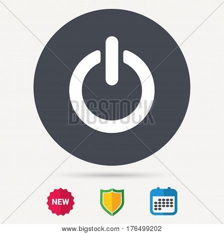 On, off power icon. Energy switch symbol. Calendar, shield protection and new tag signs. Colored flat web icons. Vector