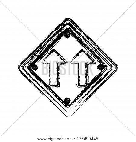 blurred silhouette diamond shape frame same direction arrow road traffic sign vector illustration