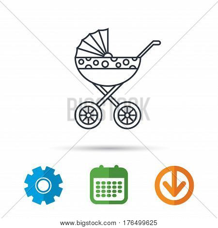 Pram icon. Newborn stroller sign. Child buggy transportation symbol. Calendar, cogwheel and download arrow signs. Colored flat web icons. Vector