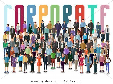 crowd of business people standing frontal conceptual business illustration