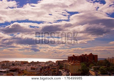 Sky, clouds, either. Estepona city, Andalusia, Spain.