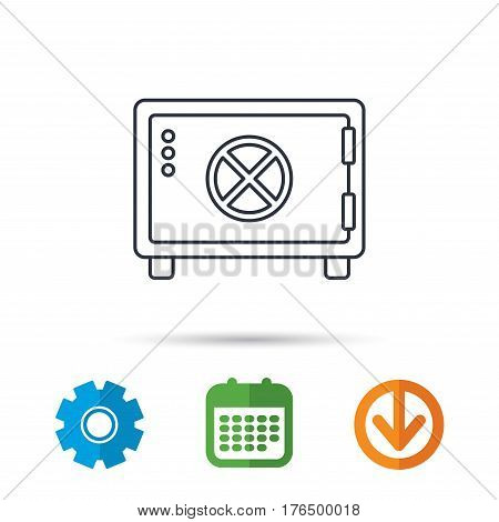 Safe icon. Money deposit sign. Circle handle symbol. Calendar, cogwheel and download arrow signs. Colored flat web icons. Vector