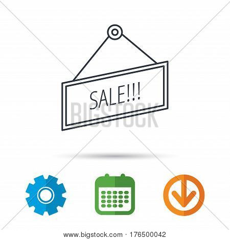 Sale icon. Advertising banner tag sign. Calendar, cogwheel and download arrow signs. Colored flat web icons. Vector