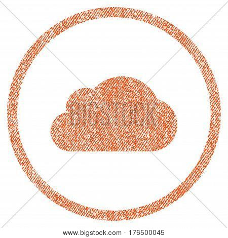 Cloud vector textured icon for overlay watermark stamps. Fabric orange vectorized texture. Symbol with scratched design. Rubber seal stamp with fiber textile structure.