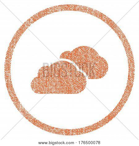 Clouds vector textured icon for overlay watermark stamps. Fabric orange vectorized texture. Symbol with scratched design. Rubber seal stamp with fiber textile structure.