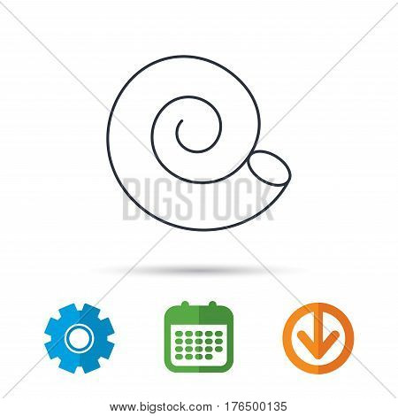 Sea shell icon. Spiral seashell sign. Mollusk shell symbol. Calendar, cogwheel and download arrow signs. Colored flat web icons. Vector