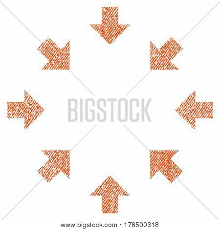 Compact Arrows vector textured icon for overlay watermark stamps. Fabric orange vectorized texture. Symbol with unclean design. Rubber seal stamp with fiber textile structure.