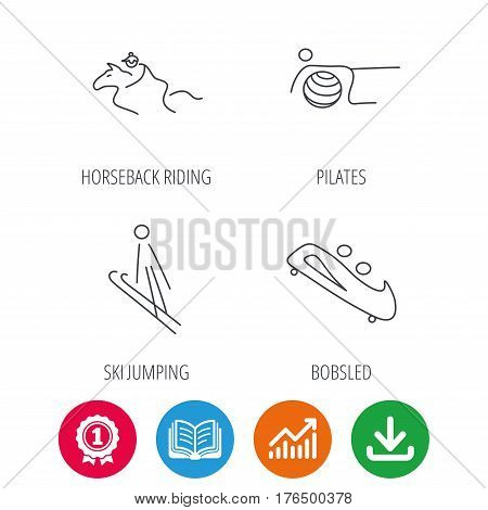Pilates, bobsled and horseback riding icons. Ski jumping linear sign. Award medal, growth chart and opened book web icons. Download arrow. Vector
