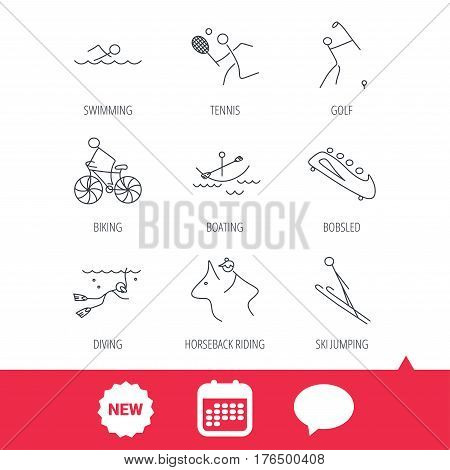 Swimming, tennis and golf icons. Biking, diving and horseback riding linear signs. Ski jumping, boating and bobsleigh icons. New tag, speech bubble and calendar web icons. Vector