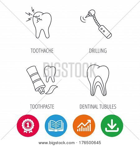 Toothpaste, dental tubules and toothache icons. Drilling tool linear sign. Award medal, growth chart and opened book web icons. Download arrow. Vector