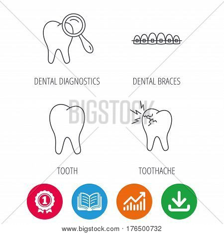 Tooth, dental braces and toothache icons. Dental diagnostics linear sign. Award medal, growth chart and opened book web icons. Download arrow. Vector