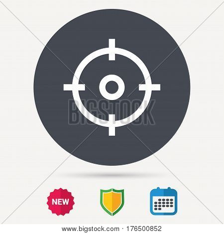 Target icon. Crosshair aim symbol. Calendar, shield protection and new tag signs. Colored flat web icons. Vector