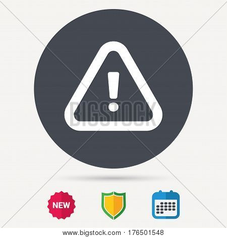 Warning icon. Attention exclamation mark symbol. Calendar, shield protection and new tag signs. Colored flat web icons. Vector