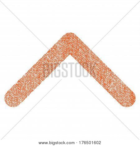 Direction Up vector textured icon for overlay watermark stamps. Fabric orange vectorized texture. Symbol with scratched design. Rubber seal stamp with fiber textile structure.