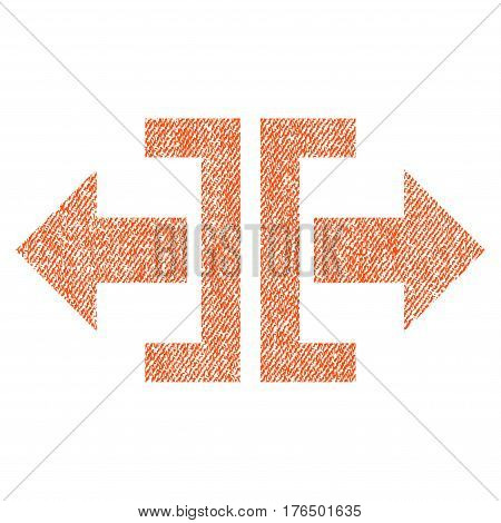 Divide Horizontal Direction vector textured icon for overlay watermark stamps. Fabric orange vectorized texture. Symbol with scratched design. Rubber seal stamp with fiber textile structure.