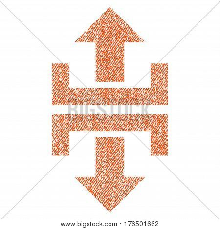 Divide Vertical Direction vector textured icon for overlay watermark stamps. Fabric orange vectorized texture. Symbol with dust design. Rubber seal stamp with fiber textile structure.