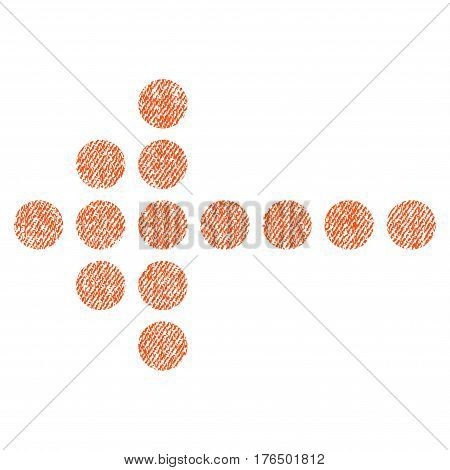 Dotted Arrow Left vector textured icon for overlay watermark stamps. Fabric orange vectorized texture. Symbol with unclean design. Rubber seal stamp with fiber textile structure.