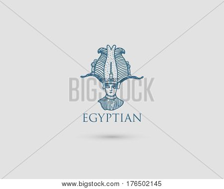 Egyptian logo with symbol Pharaon Osiris of ancient civilization vintage, engraved hand drawn in sketch or wood cut style, old looking retro .