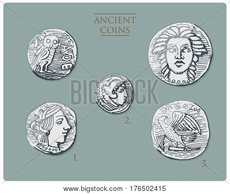 ancient Greece, antique symbols silver coins tetra drachma, medals with hercules, heracles and athena with owl, demetra and eagle vintage, engraved hand drawn in sketch or wood cut style, old looking.