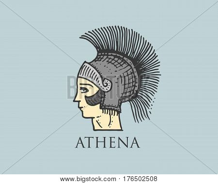 Godness Athena logo ancient Greece, antique symbol vintage, engraved hand drawn in sketch or wood cut style, old looking retro.