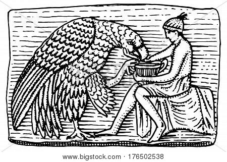 Ganymeth and eagle ancient, antique scene vintage, engraved hand drawn in sketch or wood cut style, old looking retro.