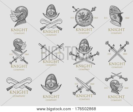 Set of monochrome knights emblems, badges, labels and logos midieval helmet, swords, mace, daggers shield antique vintage symbol , engraved hand drawn in sketch or wood cut style, old looking retro.