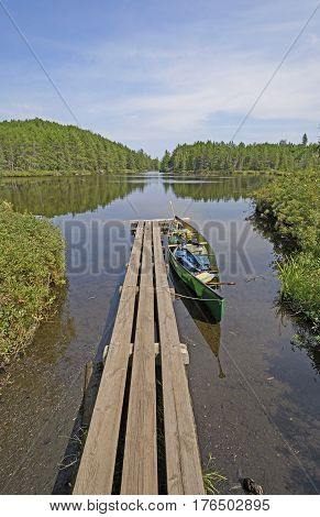 Canoe Dock in the Wilds on Swamp Lake in Quetico Provincial Park in Ontario