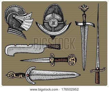 medieval symbols, Helmet and swords, knife vintage, engraved hand drawn in sketch or wood cut style, old looking retro, isolated vector realistic illustration