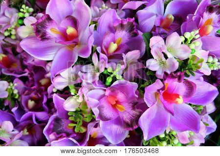 Travel to Bangkok, Thailand. The purple flowers in the bouquets on the flower market.