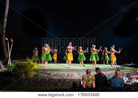 LaHaina Hawaii -- March 11 2017 Dancers Performing at a Luau on the Island of Maui Hawaii