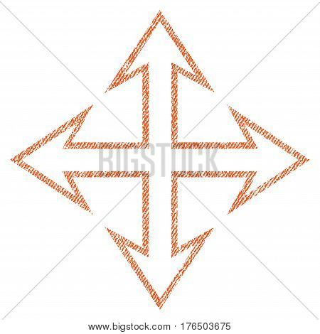 Expand Arrows vector textured icon for overlay watermark stamps. Fabric orange vectorized texture. Symbol with dust design. Rubber seal stamp with fiber textile structure.