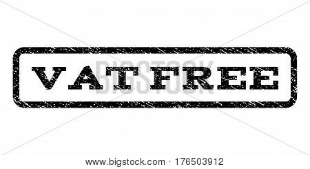 Vat Free watermark stamp. Text caption inside rounded rectangle with grunge design style. Rubber seal stamp with scratched texture. Vector black ink imprint on a white background.