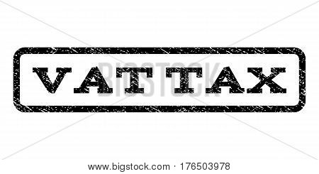 Vat Tax watermark stamp. Text tag inside rounded rectangle with grunge design style. Rubber seal stamp with unclean texture. Vector black ink imprint on a white background.