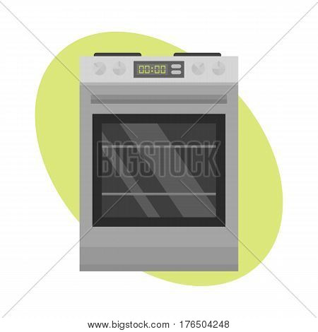 Stainless steel gas cooker with oven industrial metallic cuisine kitchenware and household utensil cook appliance vector illustration. Modern technology single electricity dish stove.